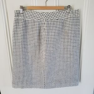 Jessica White/Black Check Plaid Tweed Skirt